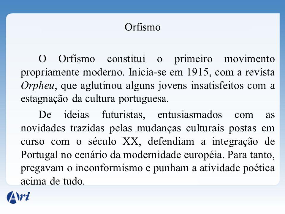 Orfismo O Orfismo constitui o primeiro movimento propriamente moderno. Inicia-se em 1915, com a revista Orpheu, que aglutinou alguns jovens insatisfei