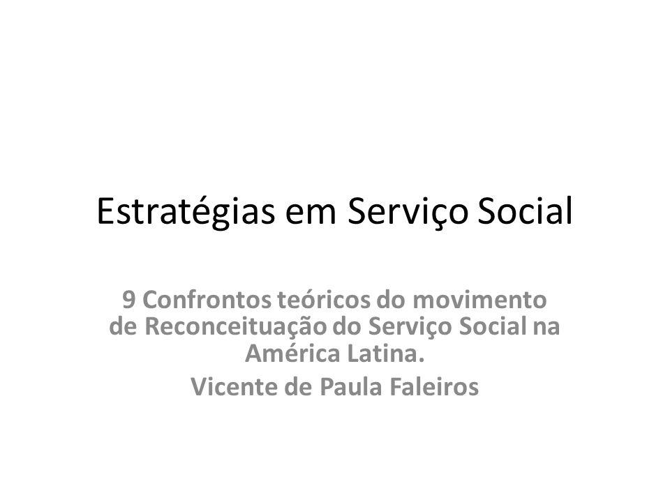 Estratégias em Serviço Social 9 Confrontos teóricos do movimento de Reconceituação do Serviço Social na América Latina.