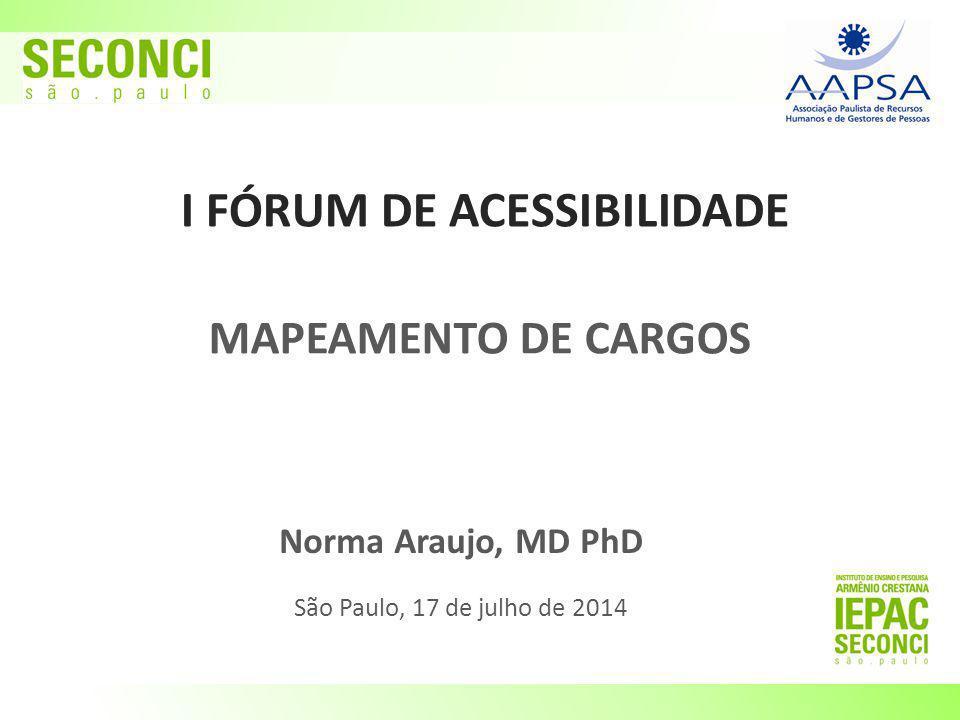 I FÓRUM DE ACESSIBILIDADE Norma Araujo, MD PhD São Paulo, 17 de julho de 2014 MAPEAMENTO DE CARGOS