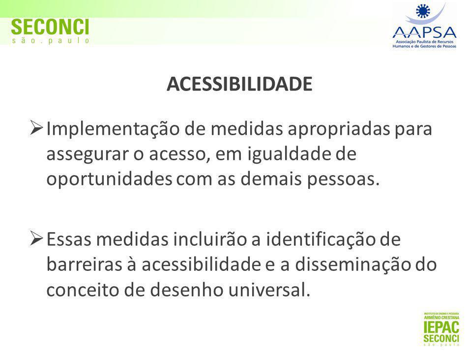  Implementação de medidas apropriadas para assegurar o acesso, em igualdade de oportunidades com as demais pessoas.