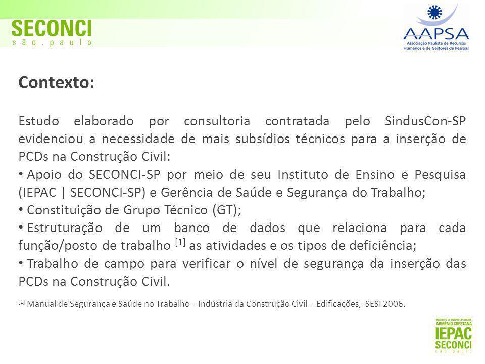 Contexto: Estudo elaborado por consultoria contratada pelo SindusCon-SP evidenciou a necessidade de mais subsídios técnicos para a inserção de PCDs na