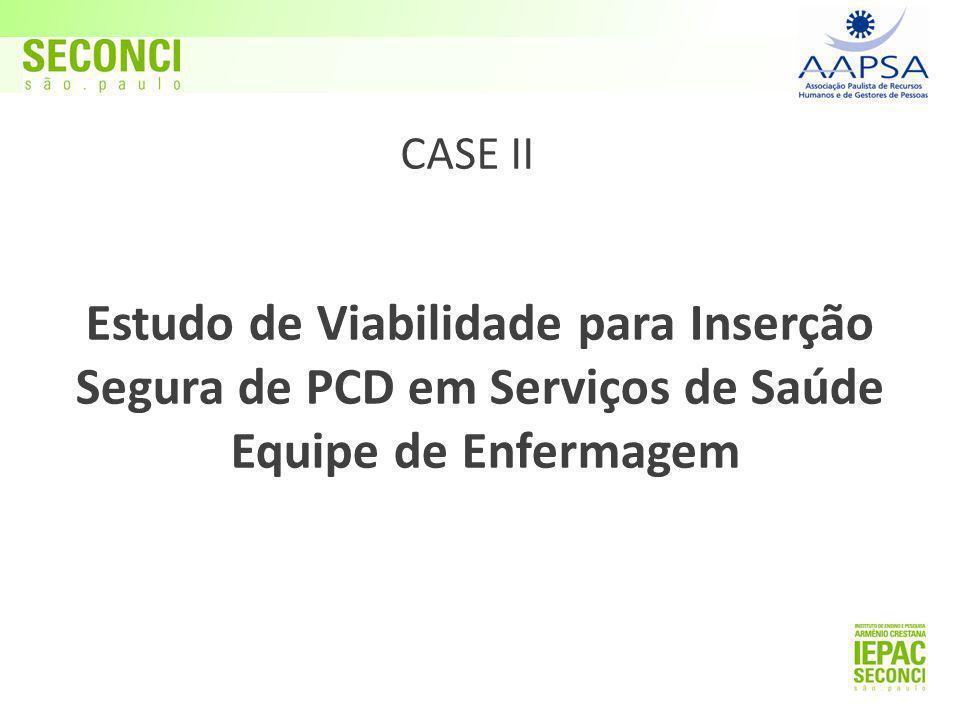 Estudo de Viabilidade para Inserção Segura de PCD em Serviços de Saúde Equipe de Enfermagem CASE II