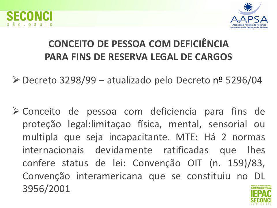  Decreto 3298/99 – atualizado pelo Decreto nº 5296/04  Conceito de pessoa com deficiencia para fins de proteção legal:limitaçao física, mental, sensorial ou multipla que seja incapacitante.