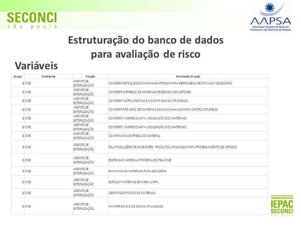 Variáveis Estruturação do banco de dados para avaliação de risco