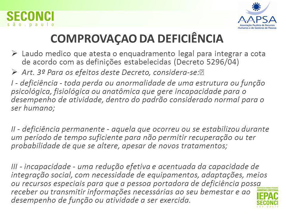 COMPROVAÇAO DA DEFICIÊNCIA  Laudo medico que atesta o enquadramento legal para integrar a cota de acordo com as definições estabelecidas (Decreto 5296/04)  Art.