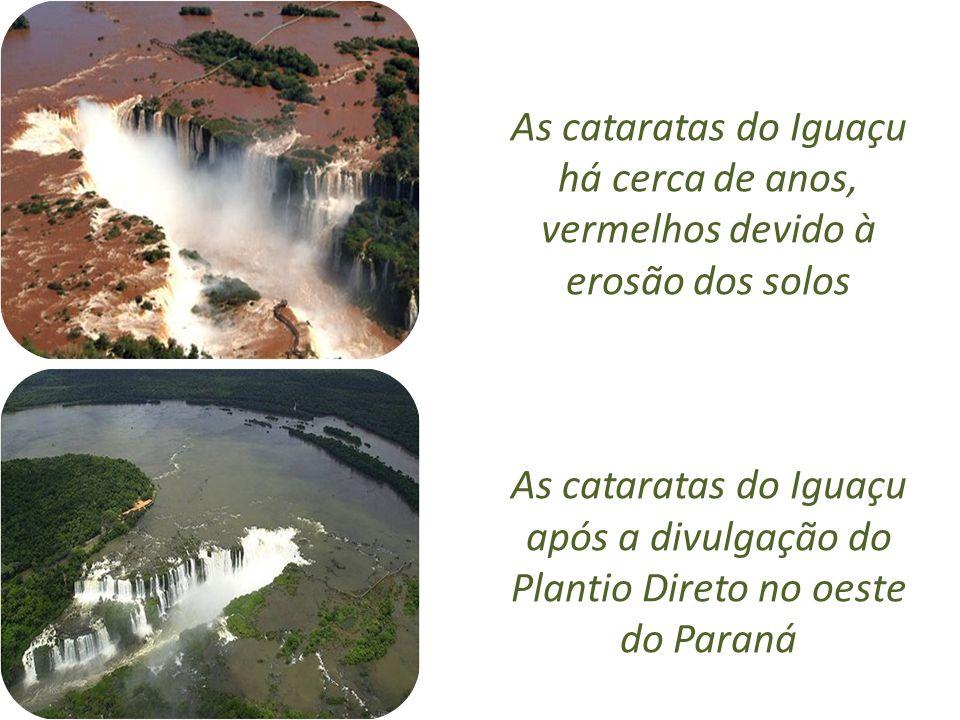 As cataratas do Iguaçu há cerca de anos, vermelhos devido à erosão dos solos As cataratas do Iguaçu após a divulgação do Plantio Direto no oeste do Pa