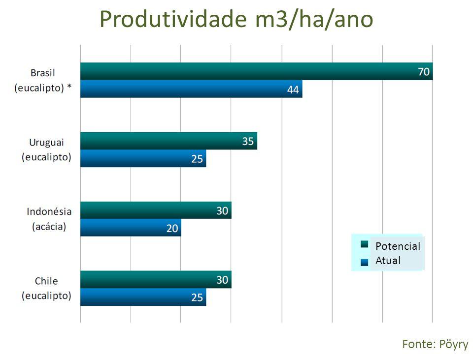 Produtividade m3/ha/ano Fonte: Pöyry Potencial Atual