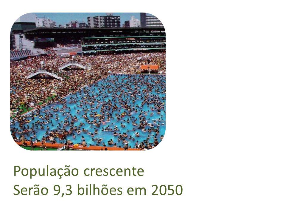 População crescente Serão 9,3 bilhões em 2050