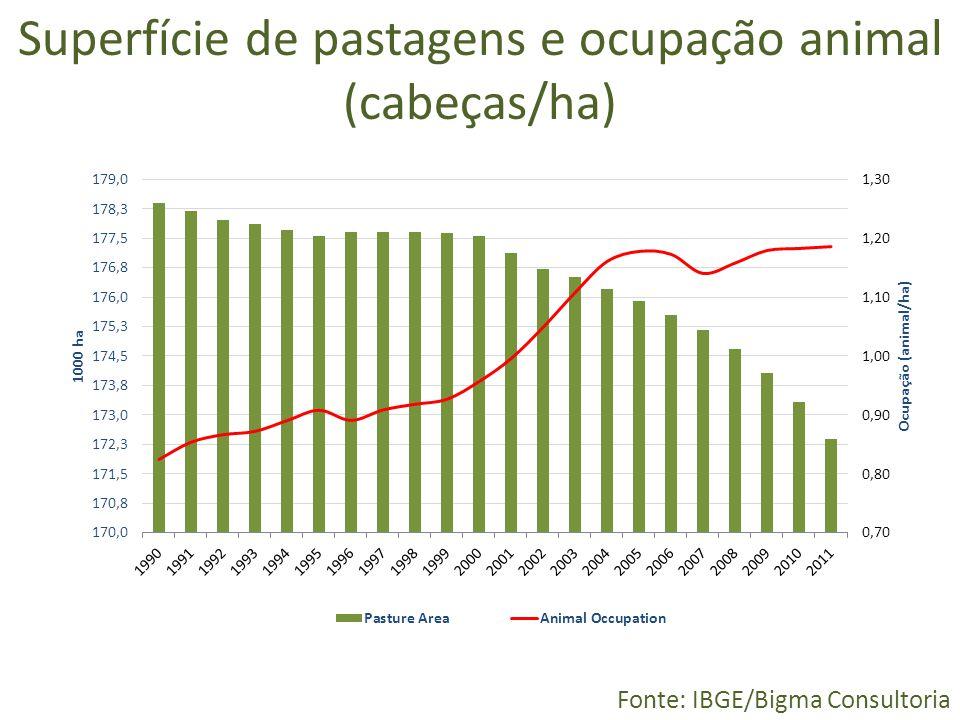 Superfície de pastagens e ocupação animal (cabeças/ha) Fonte: IBGE/Bigma Consultoria