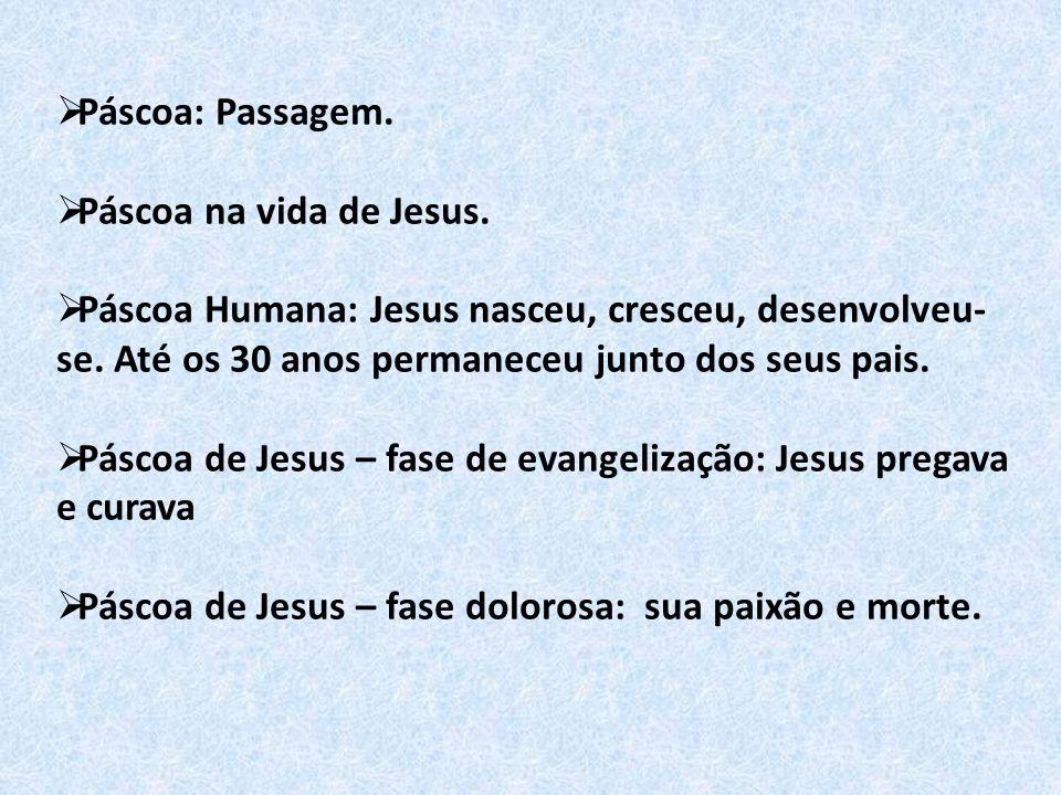  Páscoa: Passagem.  Páscoa na vida de Jesus.  Páscoa Humana: Jesus nasceu, cresceu, desenvolveu- se. Até os 30 anos permaneceu junto dos seus pais.