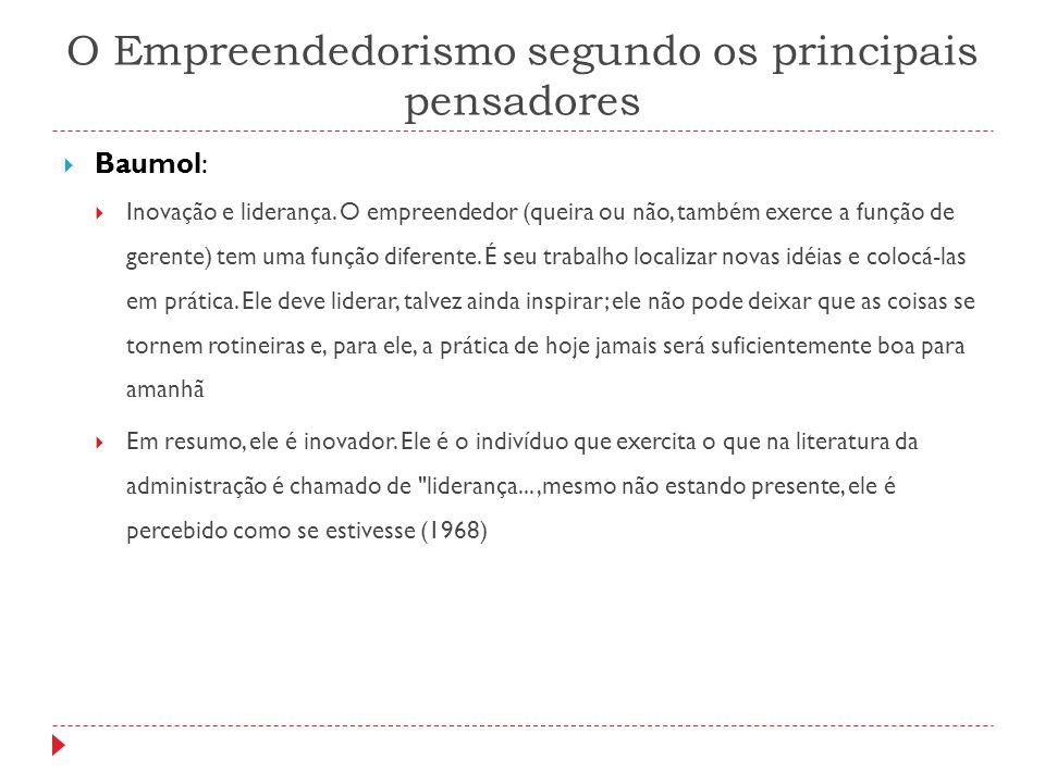 O Empreendedorismo segundo os principais pensadores  Baumol:  Inovação e liderança. O empreendedor (queira ou não, também exerce a função de gerente