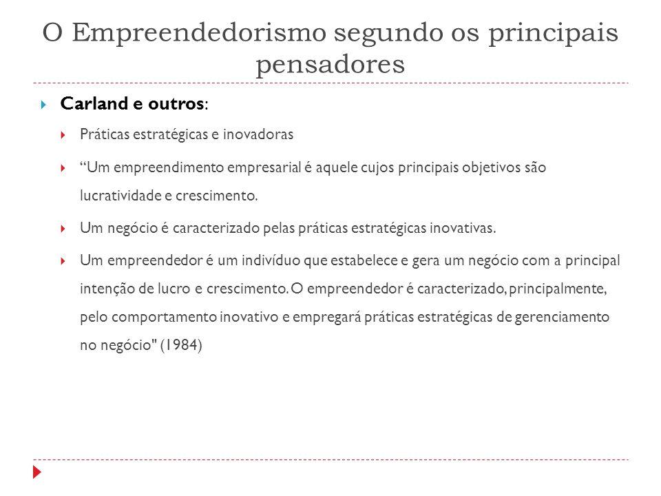 """O Empreendedorismo segundo os principais pensadores  Carland e outros:  Práticas estratégicas e inovadoras  """"Um empreendimento empresarial é aquele"""