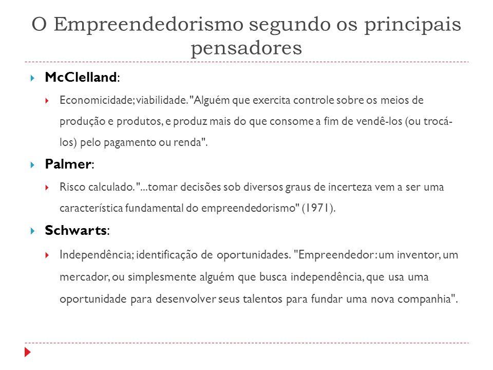 O Empreendedorismo segundo os principais pensadores  McClelland:  Economicidade; viabilidade.