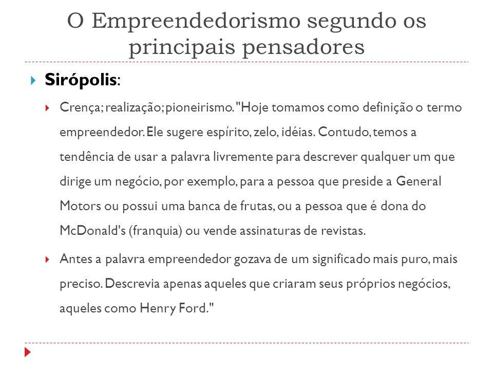 O Empreendedorismo segundo os principais pensadores  Sirópolis:  Crença; realização; pioneirismo.