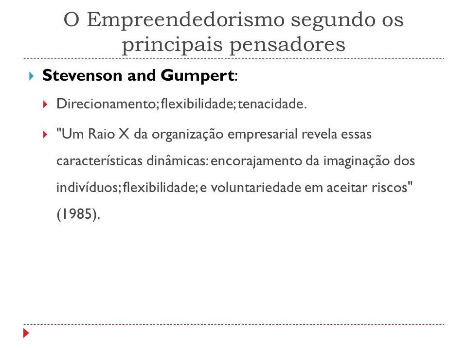 O Empreendedorismo segundo os principais pensadores  Stevenson and Gumpert:  Direcionamento; flexibilidade; tenacidade. 