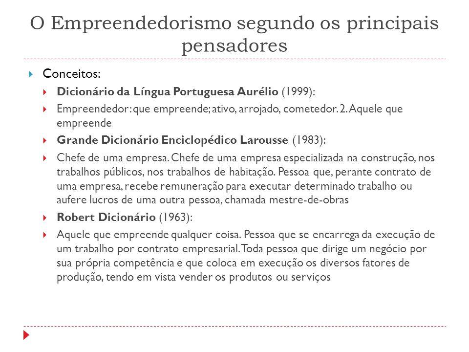 O Empreendedorismo segundo os principais pensadores  Conceitos:  Dicionário da Língua Portuguesa Aurélio (1999):  Empreendedor: que empreende; ativ