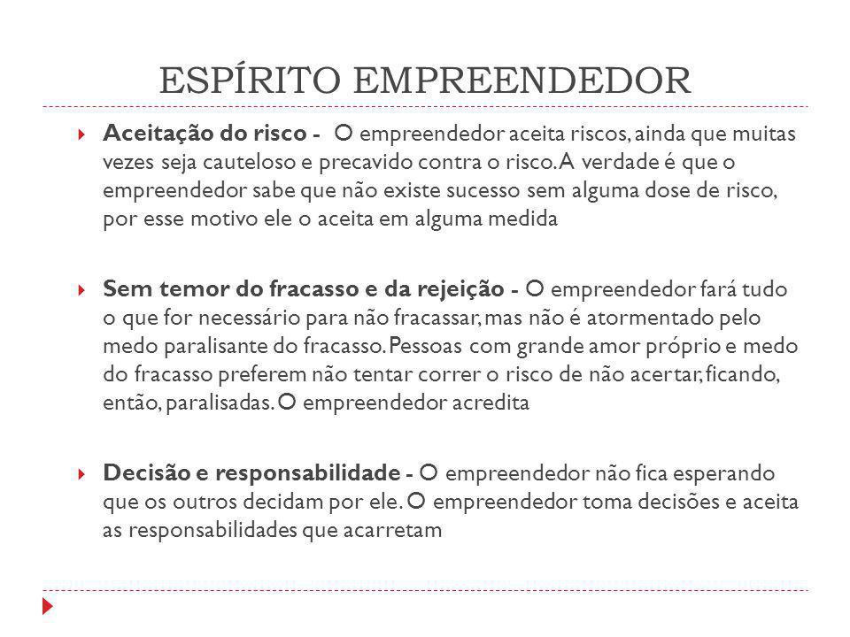 ESPÍRITO EMPREENDEDOR  Aceitação do risco - O empreendedor aceita riscos, ainda que muitas vezes seja cauteloso e precavido contra o risco. A verdade