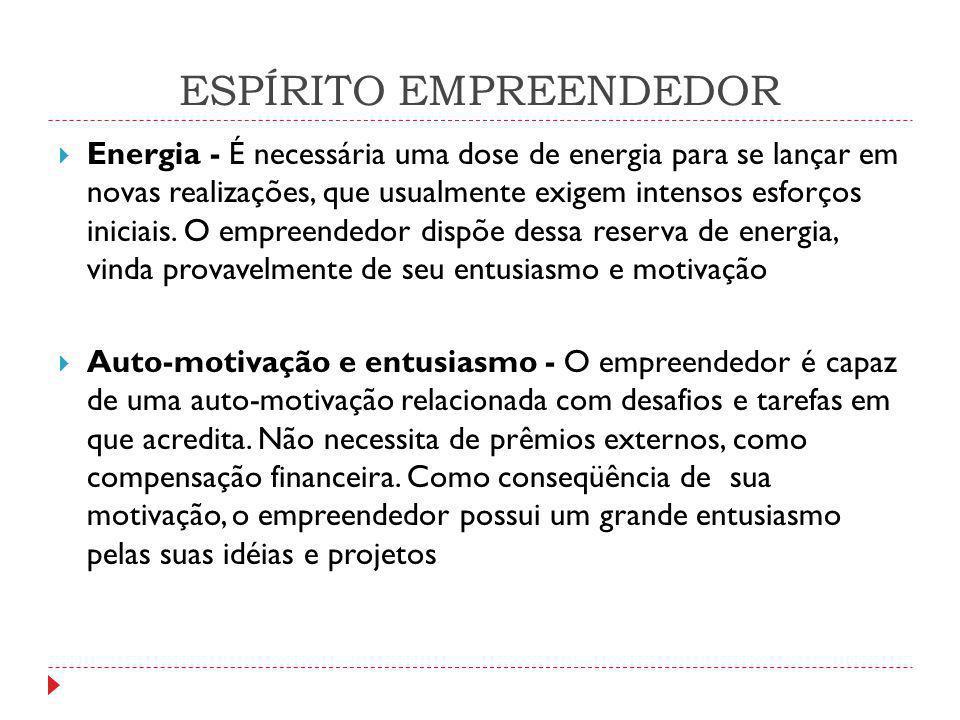 ESPÍRITO EMPREENDEDOR  Energia - É necessária uma dose de energia para se lançar em novas realizações, que usualmente exigem intensos esforços inicia