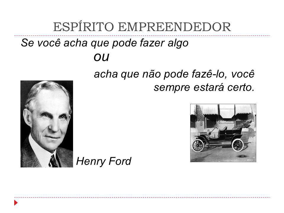 ESPÍRITO EMPREENDEDOR Henry Ford ou Se você acha que pode fazer algo acha que não pode fazê-lo, você sempre estará certo.