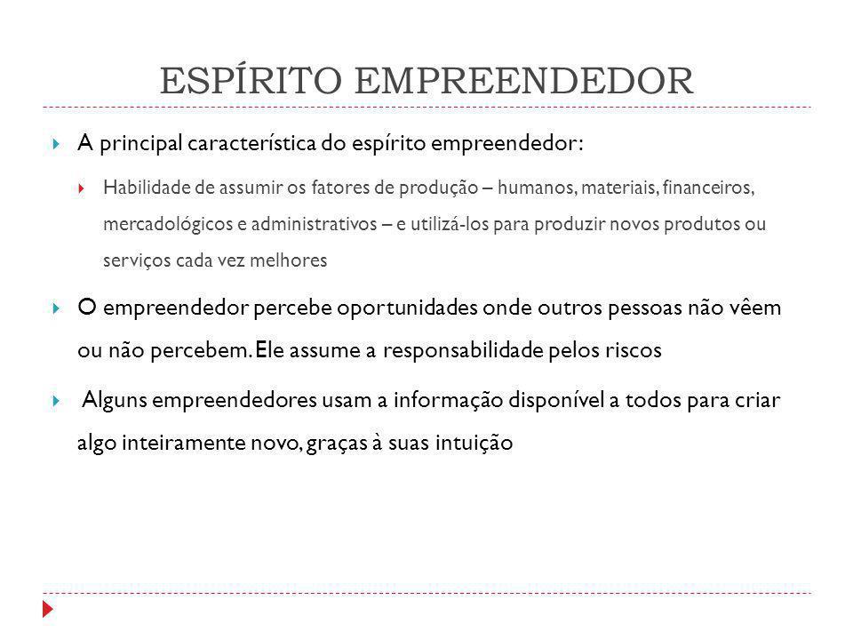 ESPÍRITO EMPREENDEDOR  A principal característica do espírito empreendedor:  Habilidade de assumir os fatores de produção – humanos, materiais, fina