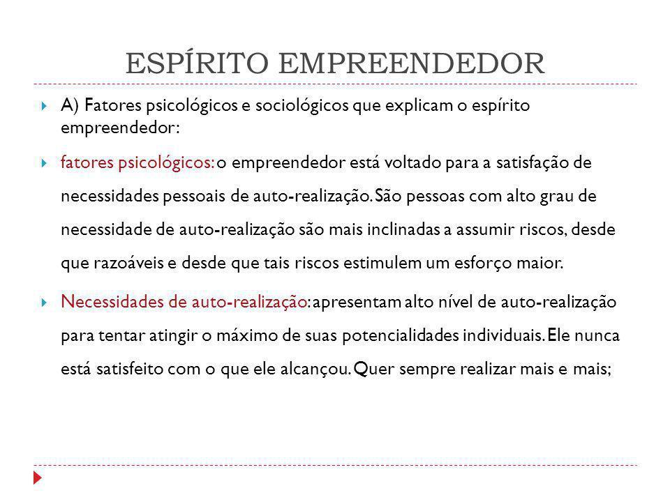 ESPÍRITO EMPREENDEDOR  A) Fatores psicológicos e sociológicos que explicam o espírito empreendedor:  fatores psicológicos: o empreendedor está volta