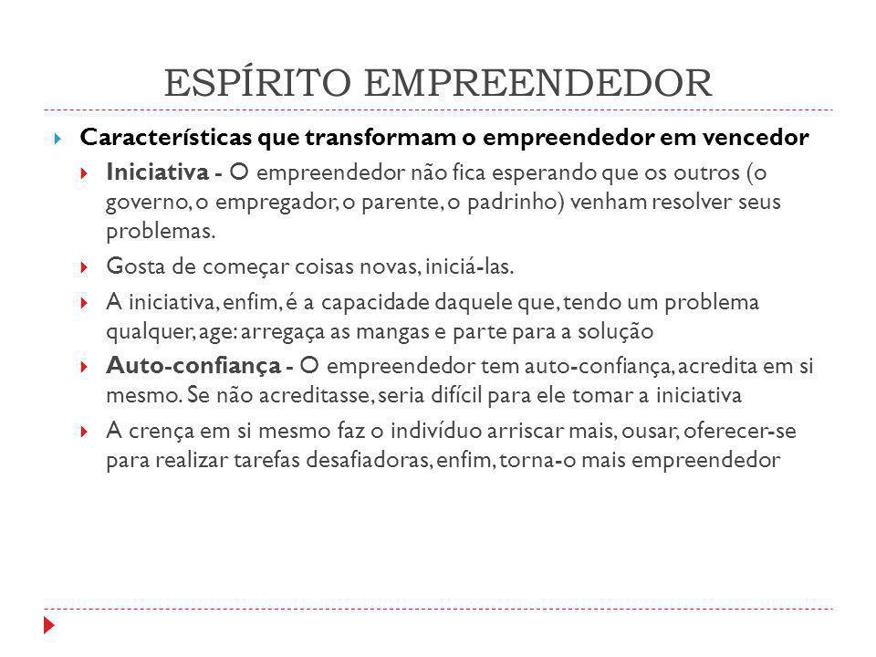 ESPÍRITO EMPREENDEDOR  Características que transformam o empreendedor em vencedor  Iniciativa - O empreendedor não fica esperando que os outros (o g
