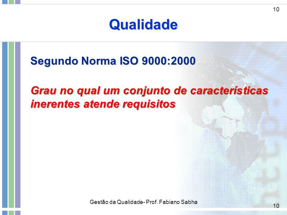 10 Qualidade Segundo Norma ISO 9000:2000 Grau no qual um conjunto de características inerentes atende requisitos Gestão da Qualidade- Prof. Fabiano Sa