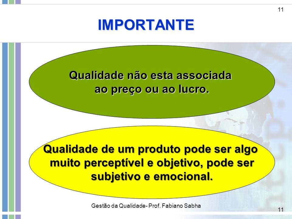 11 IMPORTANTE Qualidade não esta associada ao preço ou ao lucro. 11 Gestão da Qualidade- Prof. Fabiano Sabha Qualidade de um produto pode ser algo mui