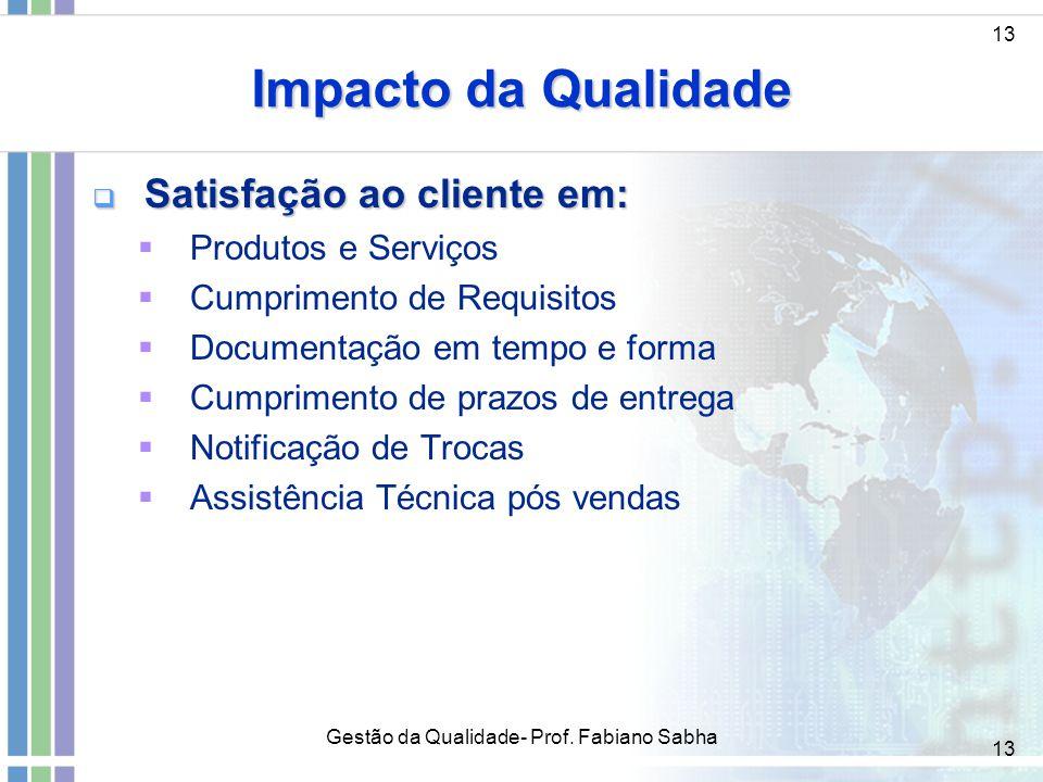 13 Impacto da Qualidade  Satisfação ao cliente em:  Produtos e Serviços  Cumprimento de Requisitos  Documentação em tempo e forma  Cumprimento de