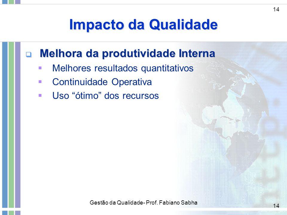 """14 Impacto da Qualidade  Melhora da produtividade Interna  Melhores resultados quantitativos  Continuidade Operativa  Uso """"ótimo"""" dos recursos 14"""