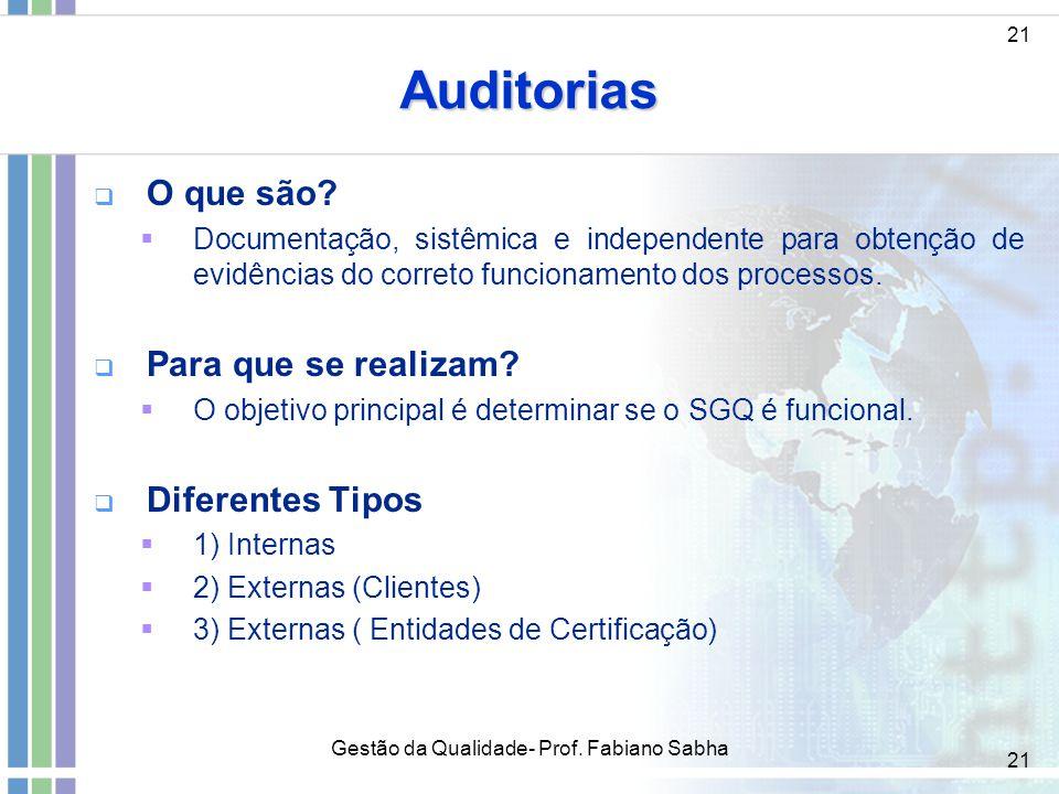 21 Auditorias   O que são?  Documentação, sistêmica e independente para obtenção de evidências do correto funcionamento dos processos.   Para que