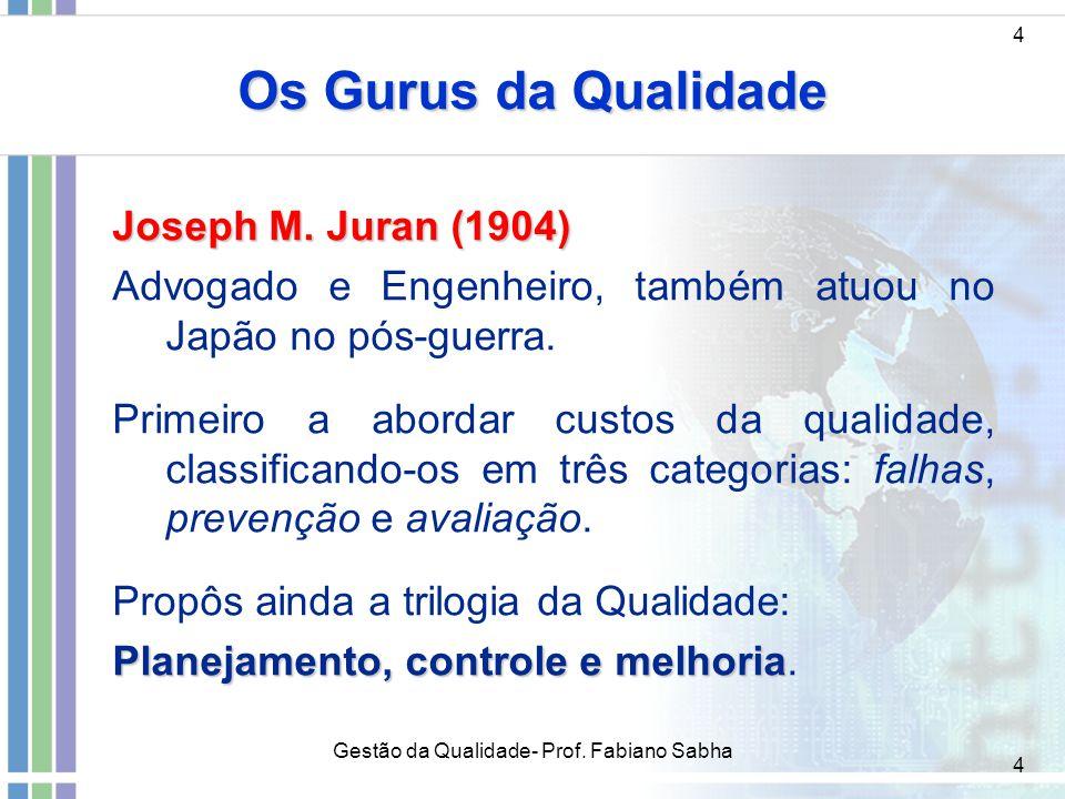 4 Os Gurus da Qualidade 4 Joseph M. Juran (1904) Advogado e Engenheiro, também atuou no Japão no pós-guerra. Primeiro a abordar custos da qualidade, c