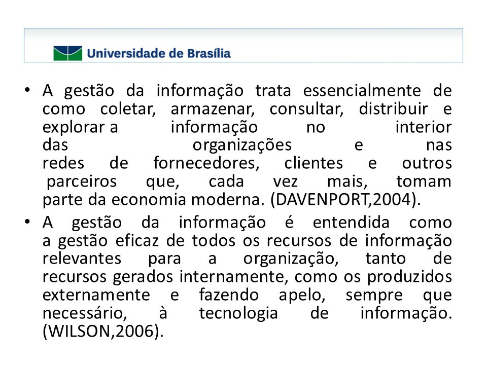 A informação precisa ser gerenciada para facilitar a sua utilização, reduzir ruídos, ter qualidade, adaptabilidade, economia de tempo (velocidade de resposta), e de custos (CHOO,2003).