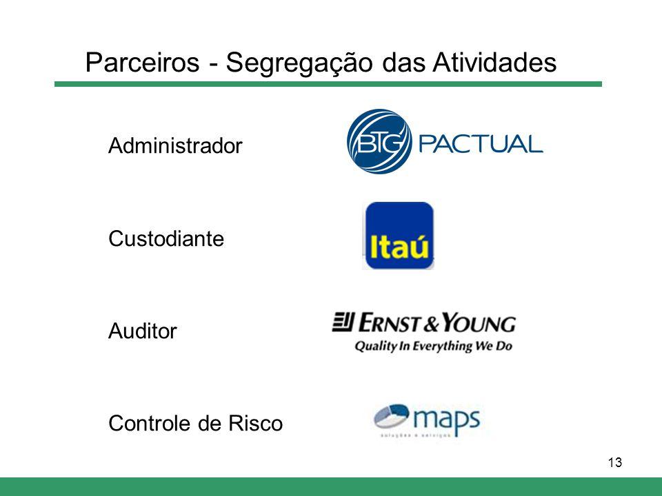 13 Administrador Custodiante Auditor Controle de Risco Parceiros - Segregação das Atividades