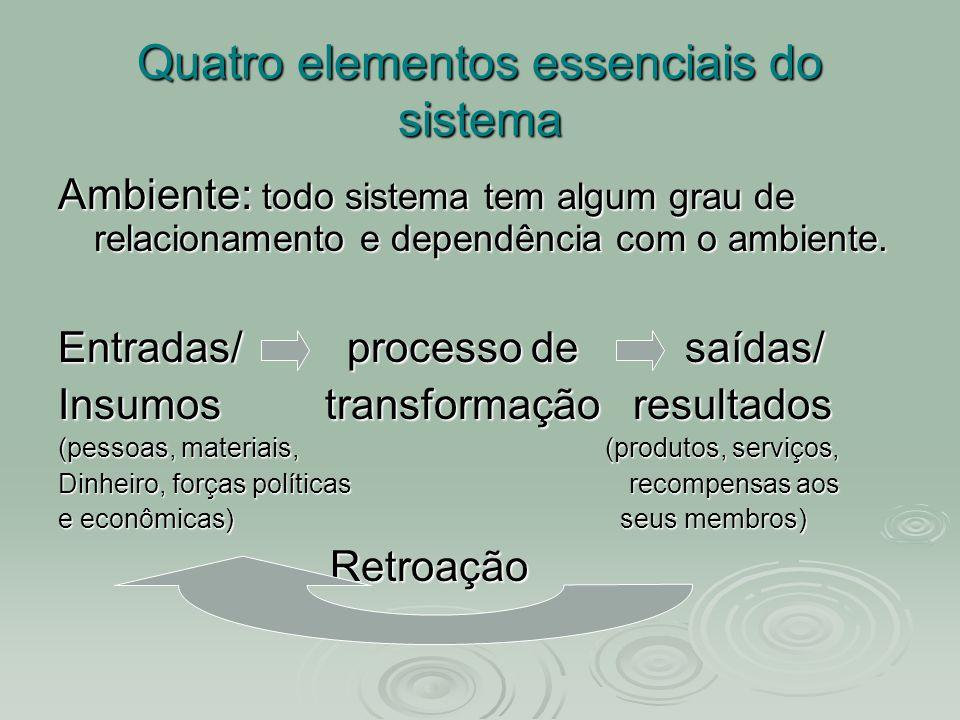 Quatro elementos essenciais do sistema Ambiente: todo sistema tem algum grau de relacionamento e dependência com o ambiente. Entradas/ processo de saí