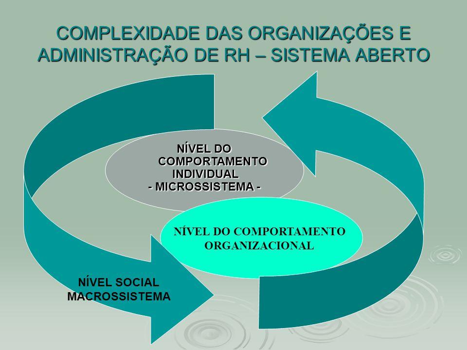 COMPLEXIDADE DAS ORGANIZAÇÕES E ADMINISTRAÇÃO DE RH – SISTEMA ABERTO NÍVEL DO COMPORTAMENTO INDIVIDUAL INDIVIDUAL - MICROSSISTEMA - NÍVEL DO COMPORTAM