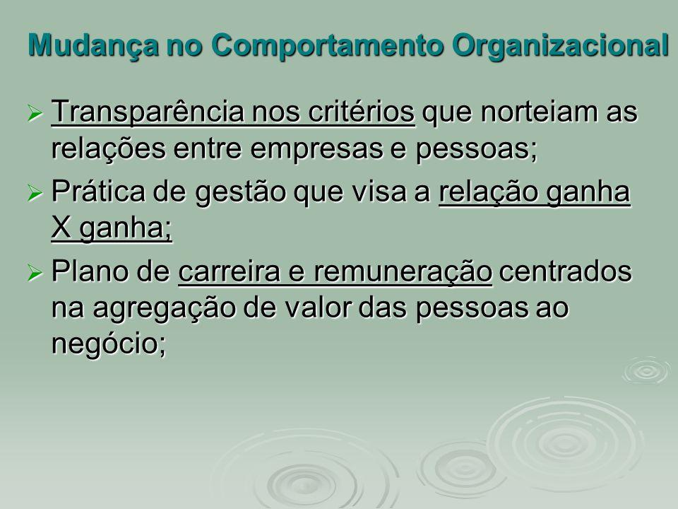 Mudança no Comportamento Organizacional  Transparência nos critérios que norteiam as relações entre empresas e pessoas;  Prática de gestão que visa