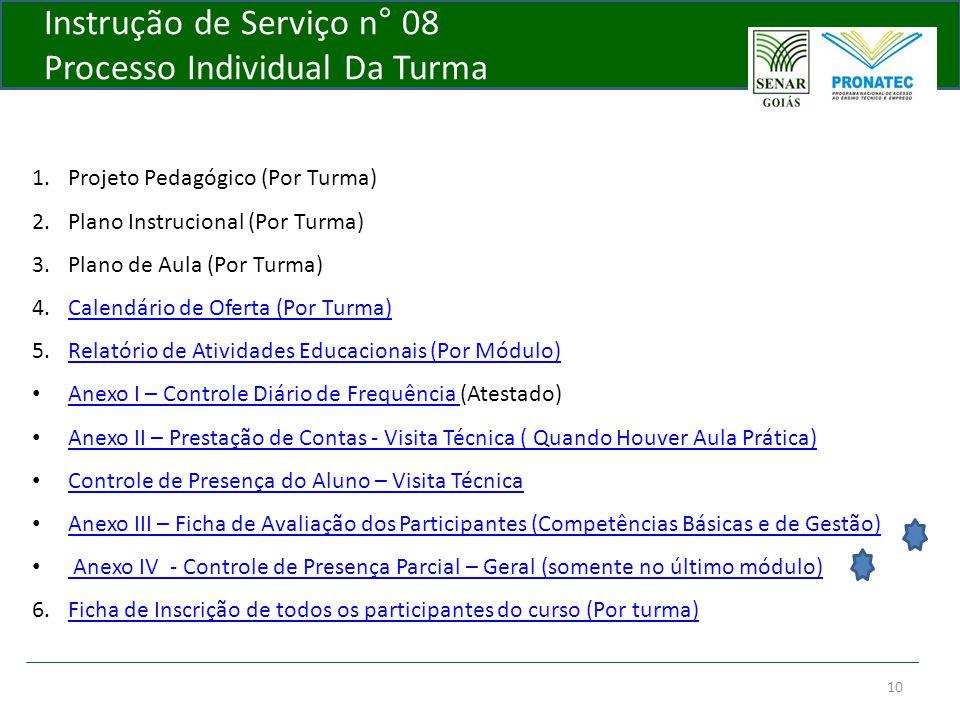 10 Instrução de Serviço n° 08 Processo Individual Da Turma 1.Projeto Pedagógico (Por Turma) 2.Plano Instrucional (Por Turma) 3.Plano de Aula (Por Turm