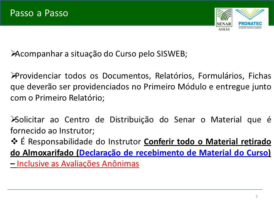 3 Passo a Passo  Acompanhar a situação do Curso pelo SISWEB;  Providenciar todos os Documentos, Relatórios, Formulários, Fichas que deverão ser prov