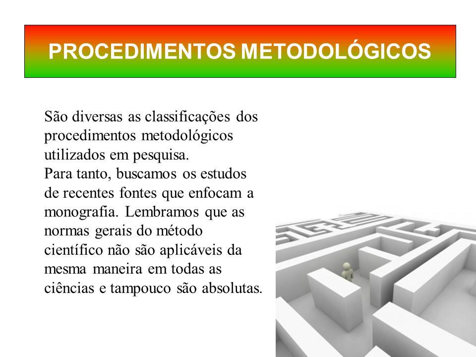 São diversas as classificações dos procedimentos metodológicos utilizados em pesquisa.