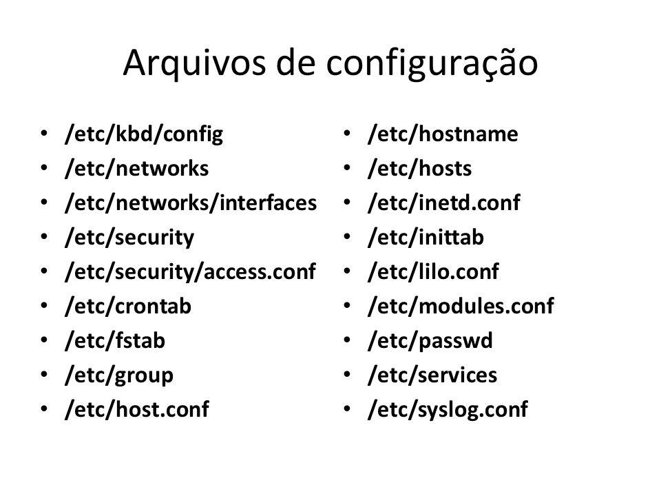 Arquivos de configuração /etc/kbd/config /etc/networks /etc/networks/interfaces /etc/security /etc/security/access.conf /etc/crontab /etc/fstab /etc/g