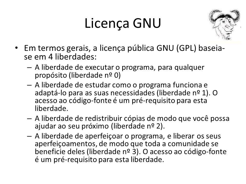 Licença GNU Em termos gerais, a licença pública GNU (GPL) baseia- se em 4 liberdades: – A liberdade de executar o programa, para qualquer propósito (l