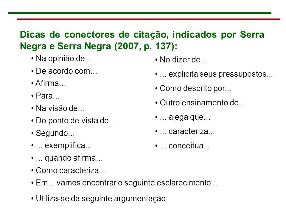 Dicas de conectores de citação, indicados por Serra Negra e Serra Negra (2007, p.