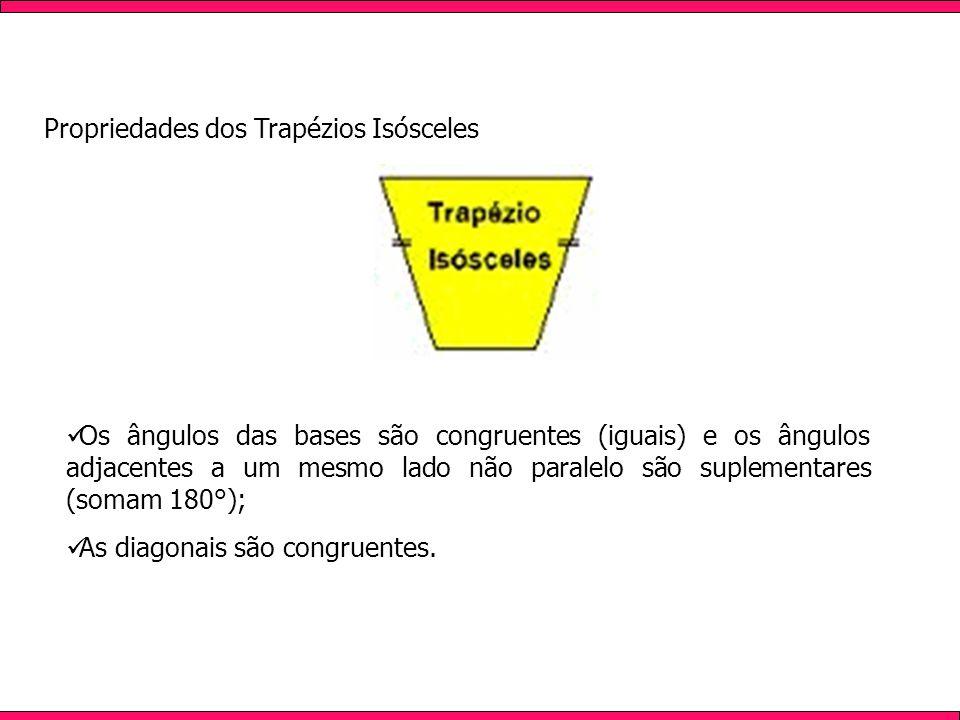 Propriedades dos Trapézios Isósceles Os ângulos das bases são congruentes (iguais) e os ângulos adjacentes a um mesmo lado não paralelo são suplementares (somam 180°); As diagonais são congruentes.