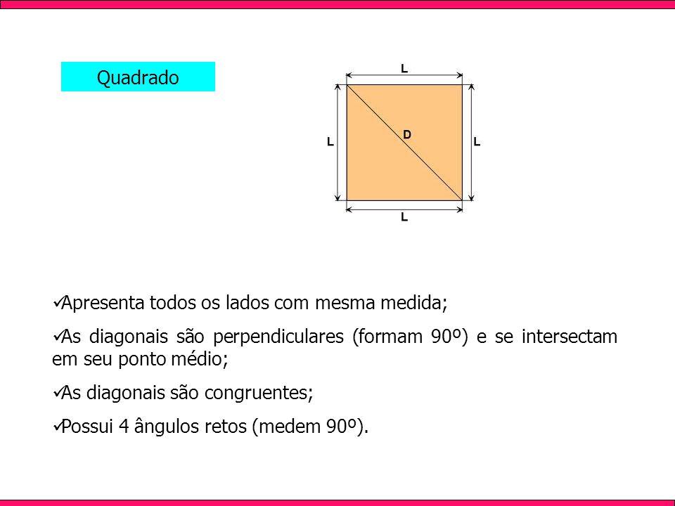 Apresenta todos os lados com mesma medida; As diagonais são perpendiculares (formam 90º) e se intersectam em seu ponto médio; As diagonais são congrue