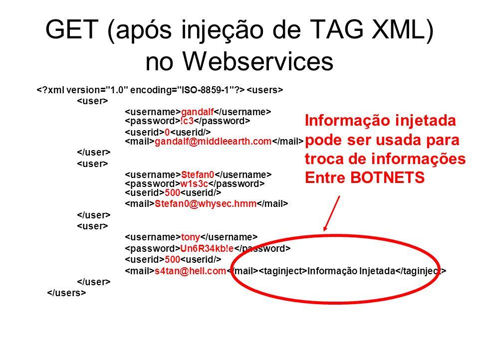 GET (após injeção de TAG XML) no Webservices gandalf !c3 0 gandalf@middleearth.com Stefan0 w1s3c 500 Stefan0@whysec.hmm tony Un6R34kb!e 500 s4tan@hell
