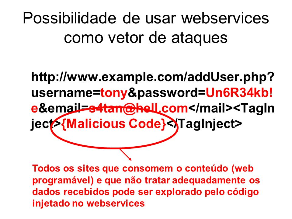 Possibilidade de usar webservices como vetor de ataques http://www.example.com/addUser.php? username=tony&password=Un6R34kb! e&email=s4tan@hell.com {M
