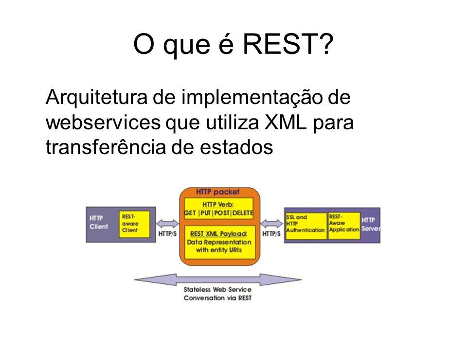 O que é REST? Arquitetura de implementação de webservices que utiliza XML para transferência de estados