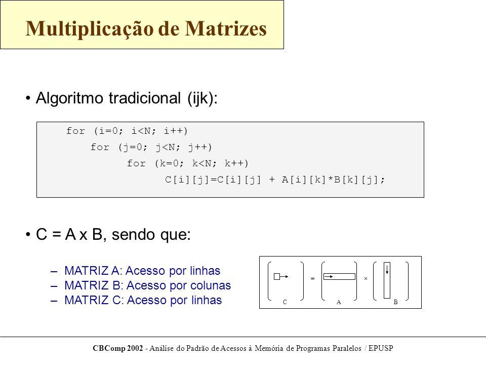 CBComp 2002 - Análise do Padrão de Acessos à Memória de Programas Paralelos / EPUSP Multiplicação de Matrizes Algoritmo tradicional (ijk): C = A x B, sendo que: – MATRIZ A: Acesso por linhas – MATRIZ B: Acesso por colunas – MATRIZ C: Acesso por linhas C[i][j]=C[i][j] + A[i][k]*B[k][j]; for (i=0; i<N; i++) for (j=0; j<N; j++) for (k=0; k<N; k++) =  BAC