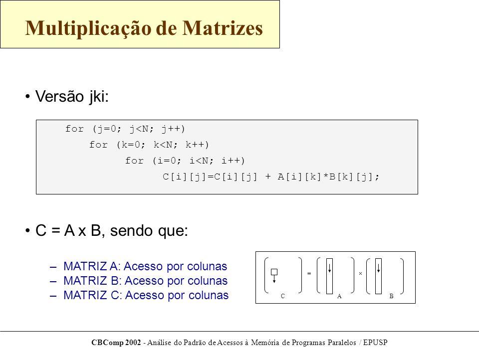 CBComp 2002 - Análise do Padrão de Acessos à Memória de Programas Paralelos / EPUSP Multiplicação de Matrizes Versão jki: C = A x B, sendo que: – MATRIZ A: Acesso por colunas – MATRIZ B: Acesso por colunas – MATRIZ C: Acesso por colunas C[i][j]=C[i][j] + A[i][k]*B[k][j]; for (i=0; i<N; i++) for (k=0; k<N; k++) for (j=0; j<N; j++) =  BAC